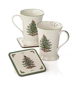 Spode® Christmas Tree Set of 2 Mugs & Coasters