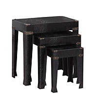 Powell® Black Crocodile Faux Leather 3-pc. Nested Tables