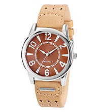 Nine West® Camel Perforated Strap Watch