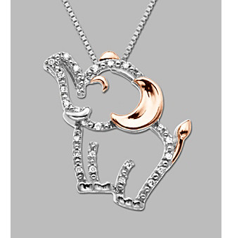 14k Rose Gold Sterling Silver Diamond Accent Elephant Pendant Necklace