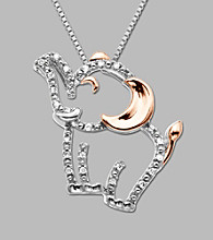 14k Rose Gold Sterling Silver Diamond Accent Pendant Necklace - Elephant