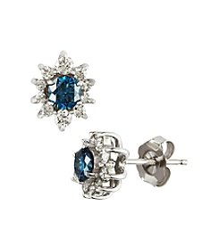 Effy® 14k White Gold .92 ct. t.w. Diamond Earrings - White/Blue