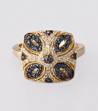Effy® 14K Yellow Gold Blue Diamond Ring
