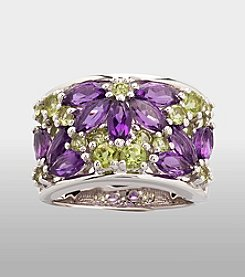 Sterling Silver Ring - Amethyst/Peridot