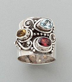 Sterling Silver Ring - Garnet/Citrine/Peridot