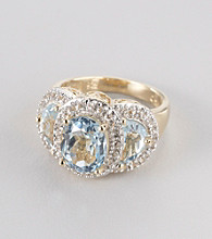 Genuine Blue Topaz Rhodium Plated Brass Ring