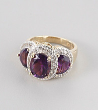 Genuine African Amethyst Rhodium Plated Brass Ring