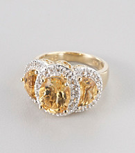 Genuine Citrine Rhodium Plated Brass Ring