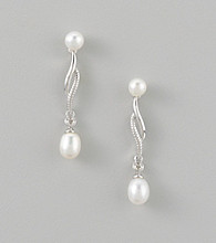 Rhodium Plated Linear Drop Earrings - White Pearl