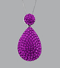 Impressions® Sterling Silver Teardrop Swarovski® Elements Pendant Necklace - Purple