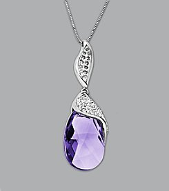 Impressions® Sterling Silver Purple Teardrop Swarovski® Elements Pendant Necklace