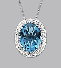 Impressions® Sterling Silver Lady Di Swarovski® Elements Pendant Necklace - Blue