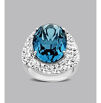 Impressions® Sterling Silver Lady Di Swarovski® Elements Ring - Blue