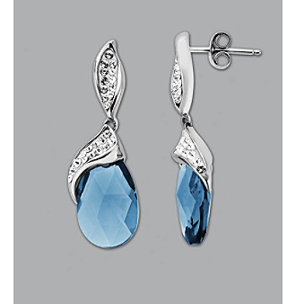 Impressions® Sterling Silver Swarovski® Elements Earrings - Blue/White