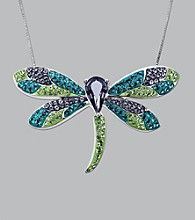 Impressions® Sterling Silver Swarovski® Elements Pendant Necklace - Green Dragonfly
