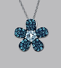Impressions® Sterling Silver Swarovski® Elements Pendant Necklace - Blue Flower