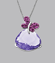 Impressions® Sterling Silver Swarovski® Elements Pendant Necklace - Purple Butterfly