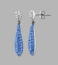 Impressions® Sterling Silver Swarovski® Elements Liquid Earrings - Blue