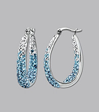 Impressions® Sterling Silver Swarovski® Elements Faded Hoop Earrings - Blue
