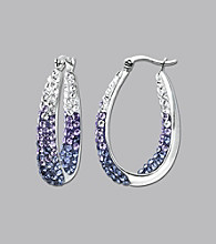 Impressions® Sterling Silver Swarovski® Elements Faded Hoop Earrings - Purple
