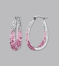 Impressions® Sterling Silver Swarovski® Elements Faded Hoop Earrings - Pink