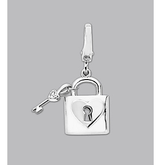 Sterling Silver Diamond Accent Key Locket Charm