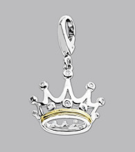 14K Yellow Gold Sterling Silver .046 ct.tw. Diamond Accent Crown Charm
