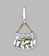 14k Yellow Gold Sterling Silver .03 ct.tw. Diamond Accent Handbag Charm
