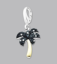 14k Yellow Gold Sterling Silver .05 ct. tw. Diamond Accent Palm Tree Charm