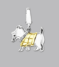 14k Yellow Gold Sterling Silver .01 ct. tw. Diamond Accent Scottie Dog Charm