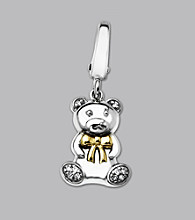 14k Yellow Gold Sterling Silver .04 ct. tw. Diamond Accent Teddy Bear Charm