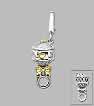 14k Yellow Gold Sterling Silver .10 ct.tw. Diamond Accent Baby Rattle Charm