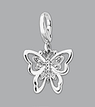 Sterling Silver .12 ct.tw. Diamond Accent Butterfly Charm