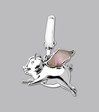 Sterling Silver Mother-Of-Pearl Flying Pig Charm