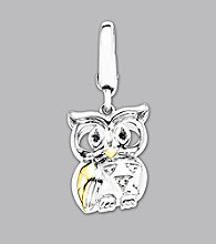 14k Yellow Gold Sterling Silver .019 ct. tw. Owl Charm