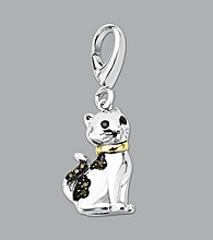 14k Yellow Gold Sterling Silver .06 ct. tw. Diamond Accent Cat Charm