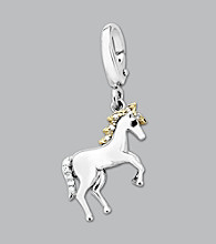 14k Yellow Gold Sterling Silver .05 ct. tw. Diamond Accent Unicorn Charm