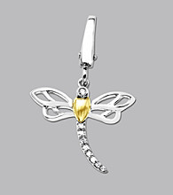 14k Yellow Gold Sterling Silver .06 ct. tw. Diamond Accent Dragonfly Charm