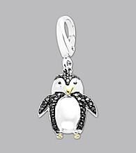 14k Yellow Gold Sterling Silver .17 ct. tw. Diamond Accent Penguin Charm