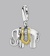 14k Yellow Gold Sterling Silver .24 ct. tw. Diamond Accent Elephant Charm