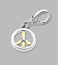 14k Yellow Gold Sterling Silver .01 ct. tw. Diamond Accent Peace Sign Charm