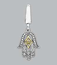 14k Yellow Gold Sterling Silver .05 ct. tw. Diamond Accent Hand Of God Charm