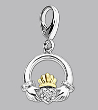 14k Yellow Gold Sterling Silver .01 ct. tw. Diamond Accent Claddaugh Charm