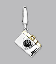 14k Yellow Gold Sterling Silver .03 ct. tw. Diamond Accent Camera Charm
