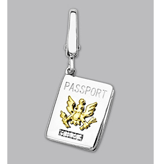 14k Yellow Gold Sterling Silver .2 ct. tw. Diamond Accent Passport Charm