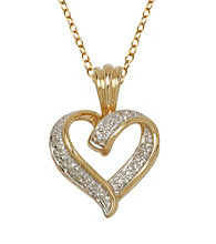 18K Gold-Over-Brass Diamond Accent Pendant - Heart