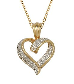 18K Gold Over Brass Diamond Accent Heart Pendant