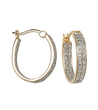 18K Gold-Over-Brass Double Diamond Accent Hoop Earrings