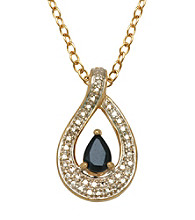 18K Gold-Over-Brass Diamond Accent Pendant - Genuine Sapphire