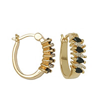 18K Gold-Over-Brass Diamond Accent Hoop Earrings - Sapphire